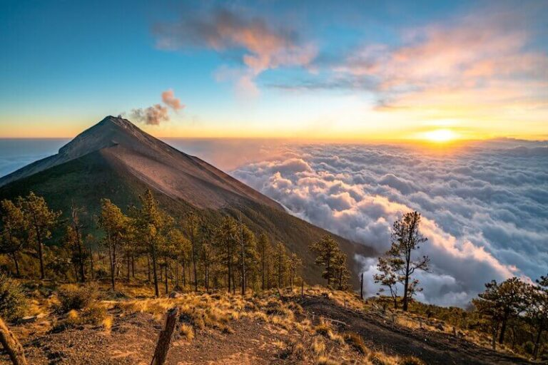 Sunrise from Volcano Acatenango and the view of Volcano de Fuego.