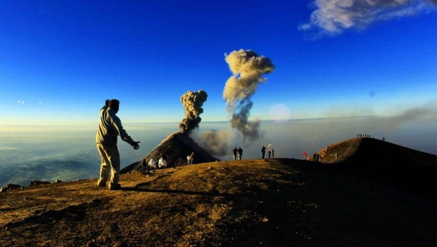 Volcano de Fuego erupting, view from Volcano Acatenango.