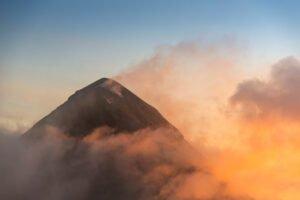 Summit of Volcano de Fuego, view from Volcano Acatenango.